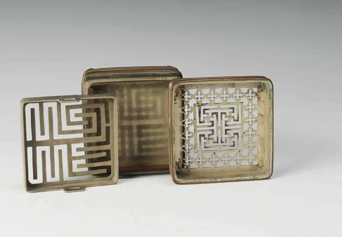 Set of 2 Bronze Incense Burners, 19th Century - 5