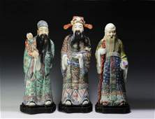 Chinese Fu, Lu, & Shou Sanxing Set, 19th Century