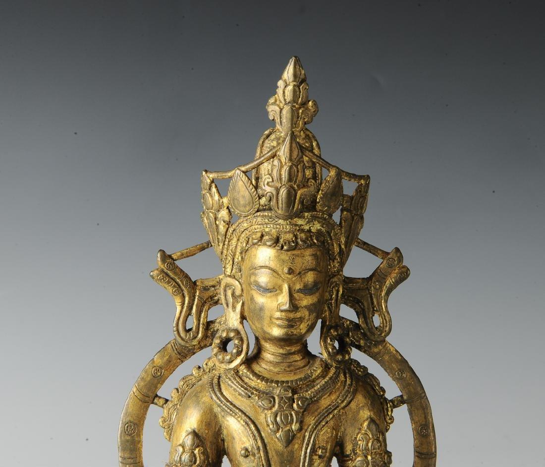 Gilt Bronze Buddha, 18th Century - 7
