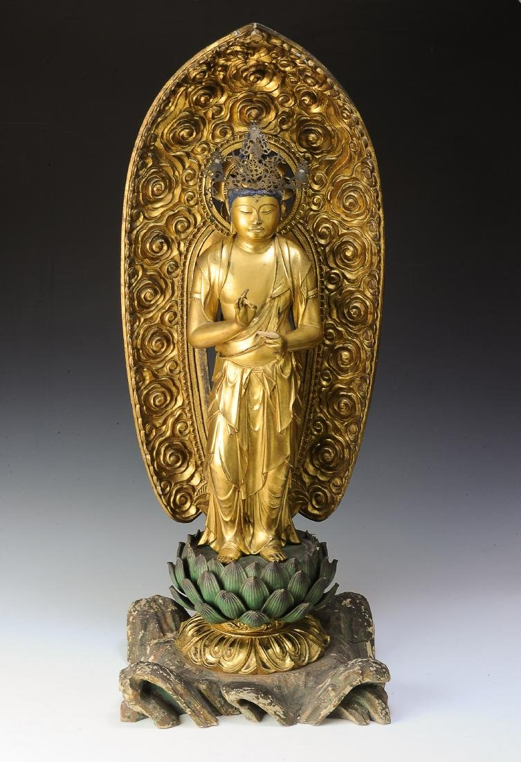 Gilt Wood Japanese Guanyin, 18th-19th Century