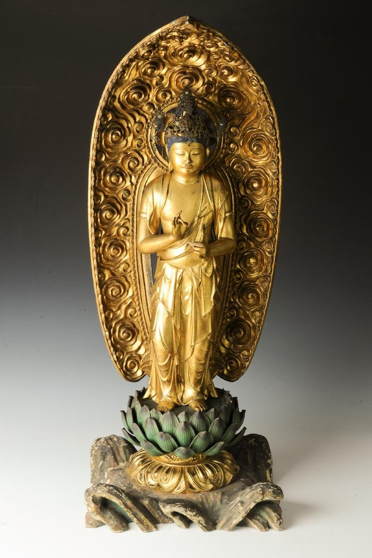 Gilt Wood Japanese Guanyin, 18th-19th Century - 2