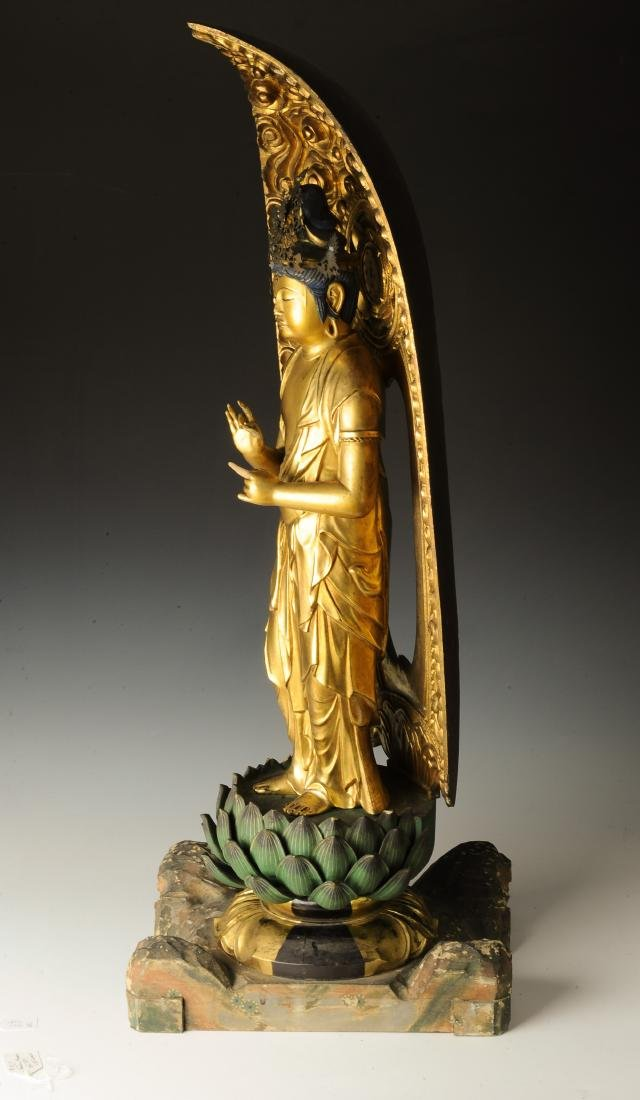 Gilt Wood Japanese Guanyin, 18th-19th Century - 4