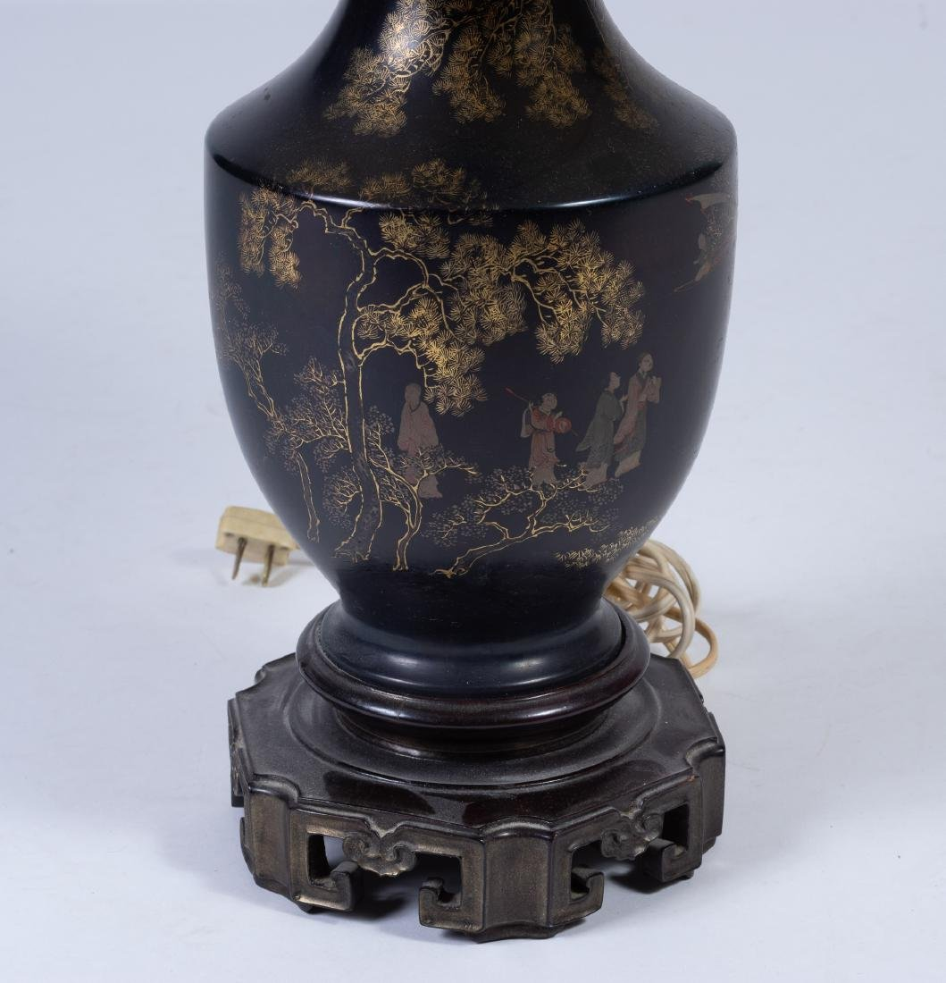 Black Lacquer Vase/Lamp, 18th Century - 2