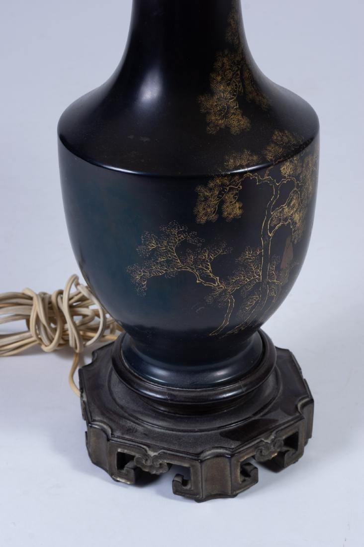 Black Lacquer Vase/Lamp, 18th Century - 3
