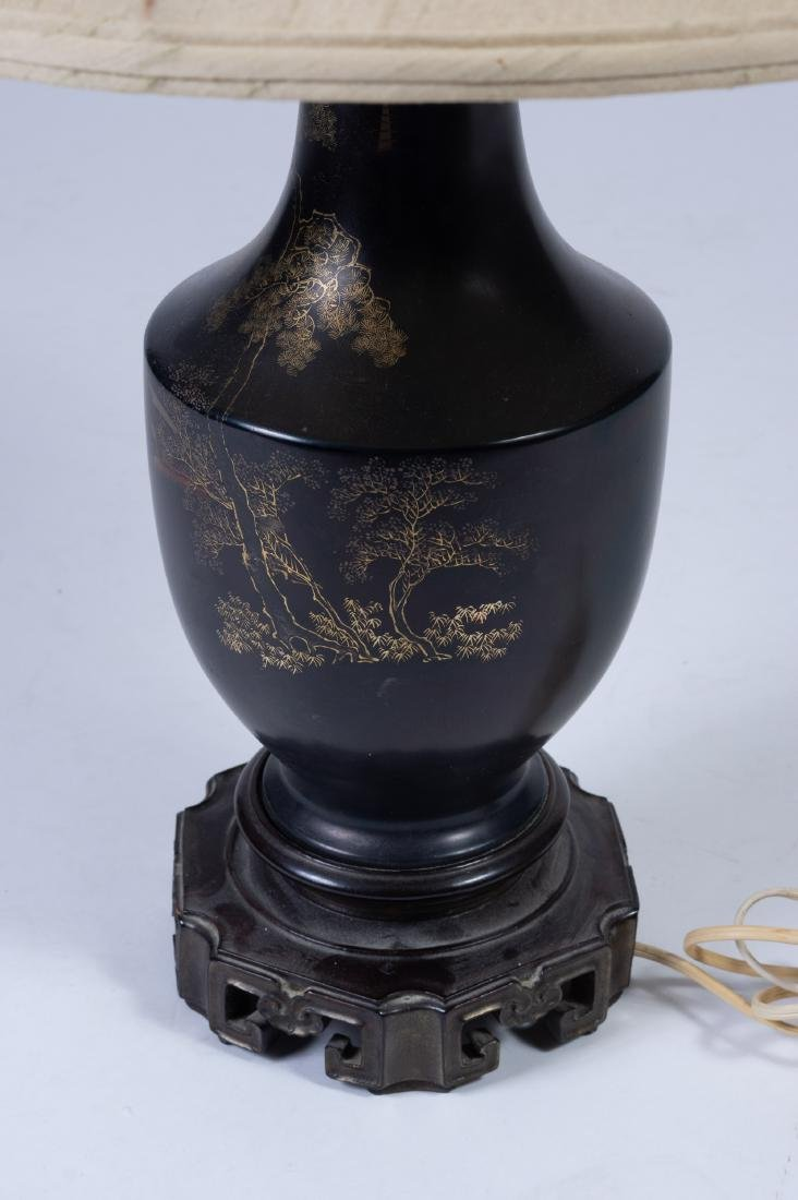 Black Lacquer Vase/Lamp, 18th Century - 5
