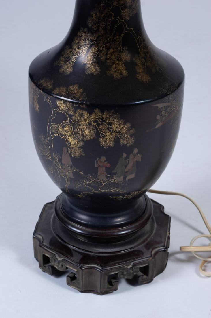 Black Lacquer Vase/Lamp, 18th Century - 6