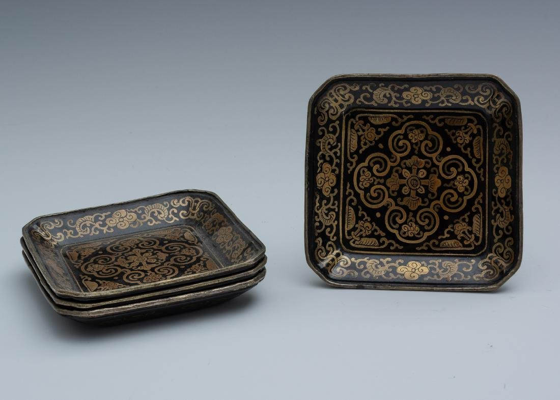 Chinese Set of 4 Square Lacquer Trays, 18th Century