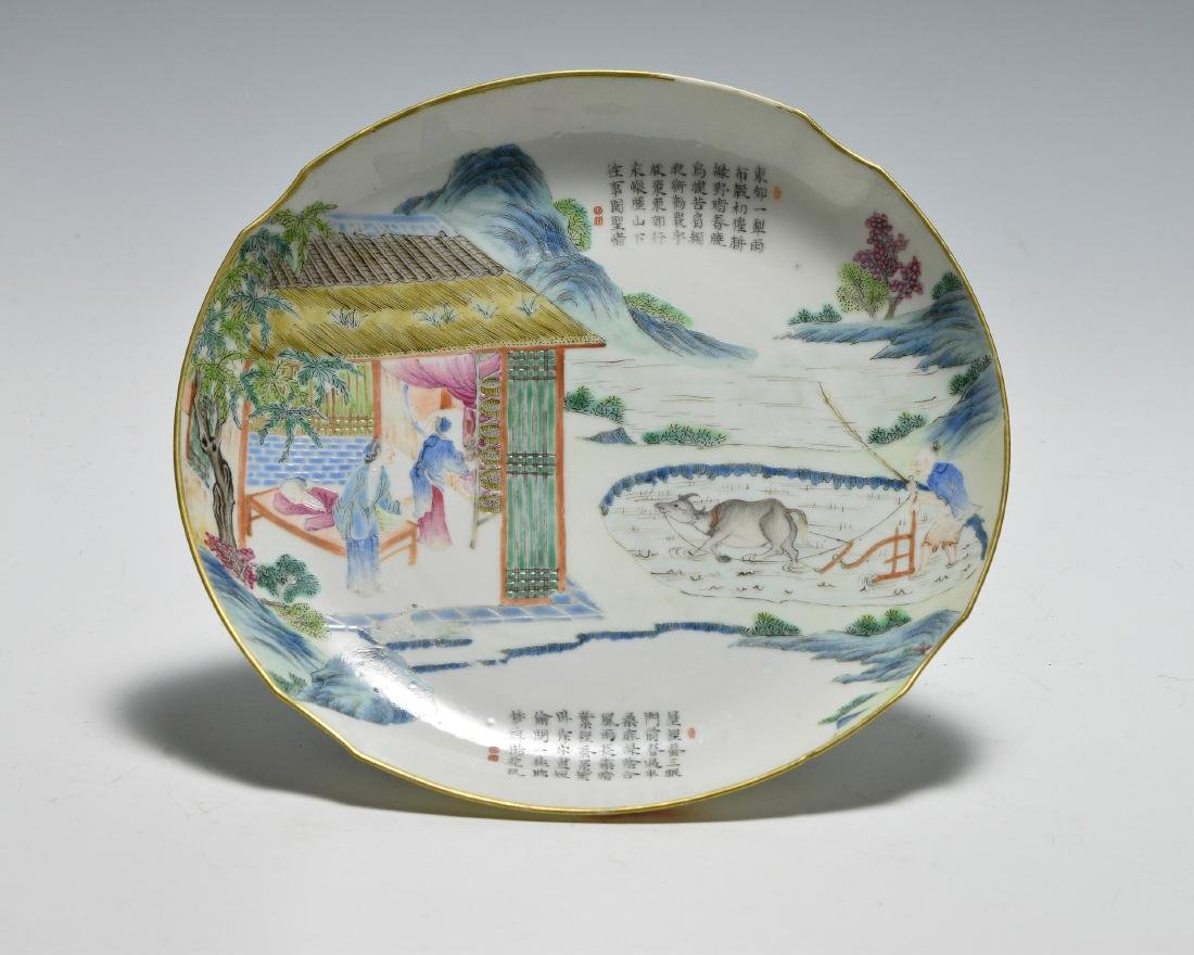 Chinese Famille Rose Plate w/ Farmers, Daoguang