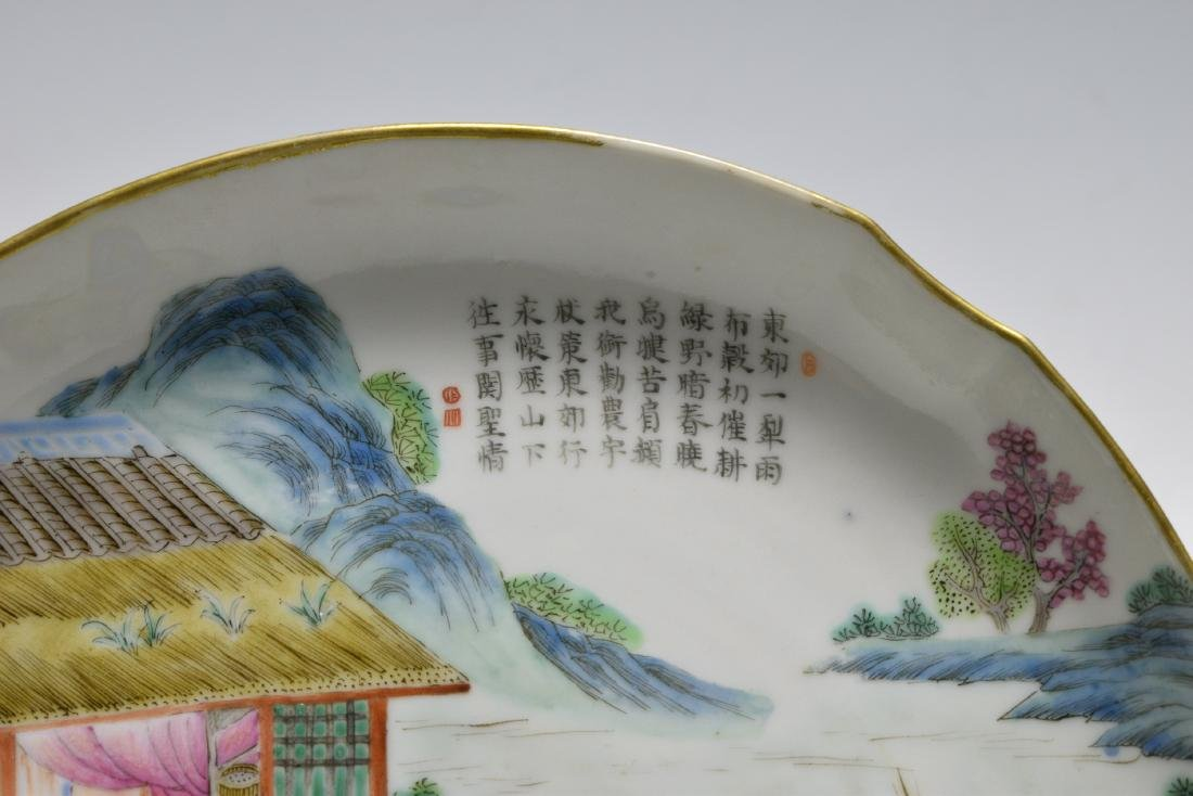 Chinese Famille Rose Plate w/ Farmers, Daoguang - 3