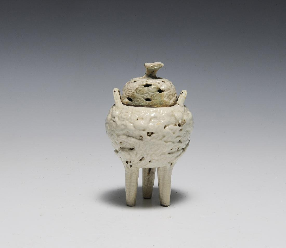 Chinese White Glazed Ding Style Censer, 18th Century
