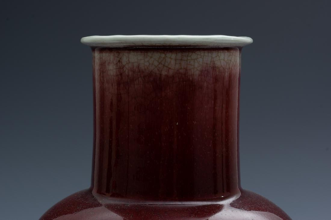 Chinese Red Glazed Vase w/ Stand, 19th Century - 4