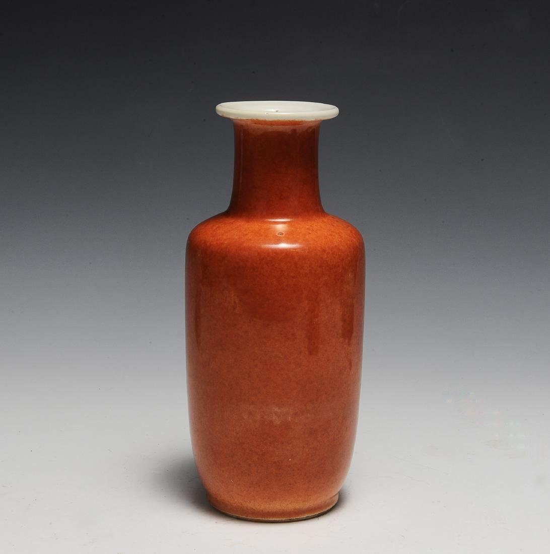 Chinese Coral Glazed Rouleau Vase, 17th Century