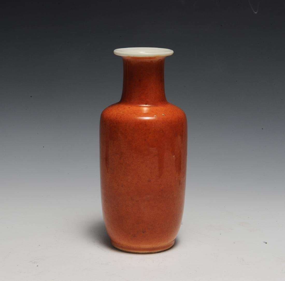 Chinese Coral Glazed Rouleau Vase, 17th Century - 4