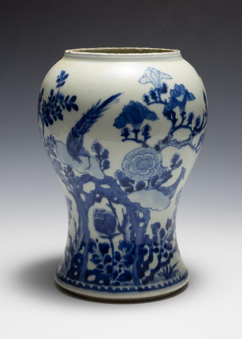 Chinese Blue & White Gu Vase w/ Flowers, Kangxi
