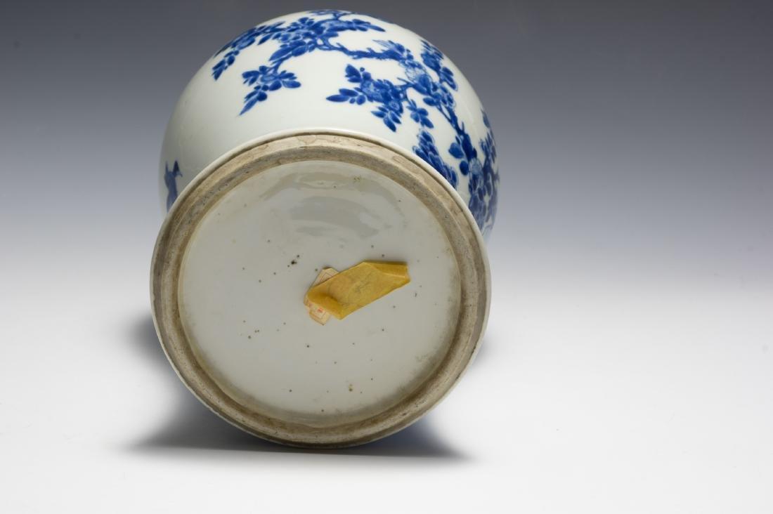 Chinese Blue & White Gu Vase w/ Flowers, Kangxi - 6