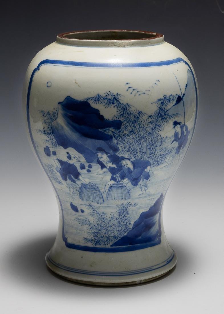 Chinese Blue & White Gu Vase, Kangxi Period