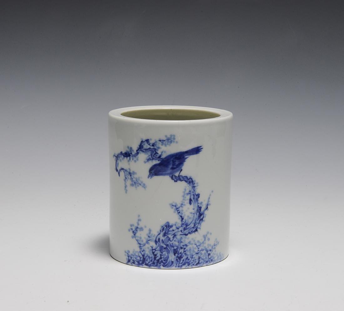 Wang Bu Style Blue & White Brush Pot, Republic