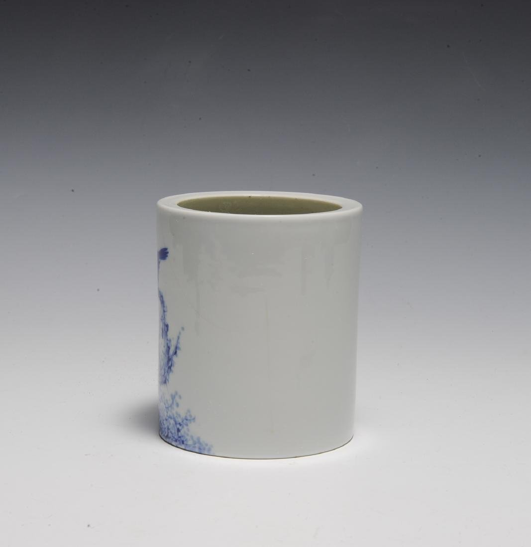 Wang Bu Style Blue & White Brush Pot, Republic - 2