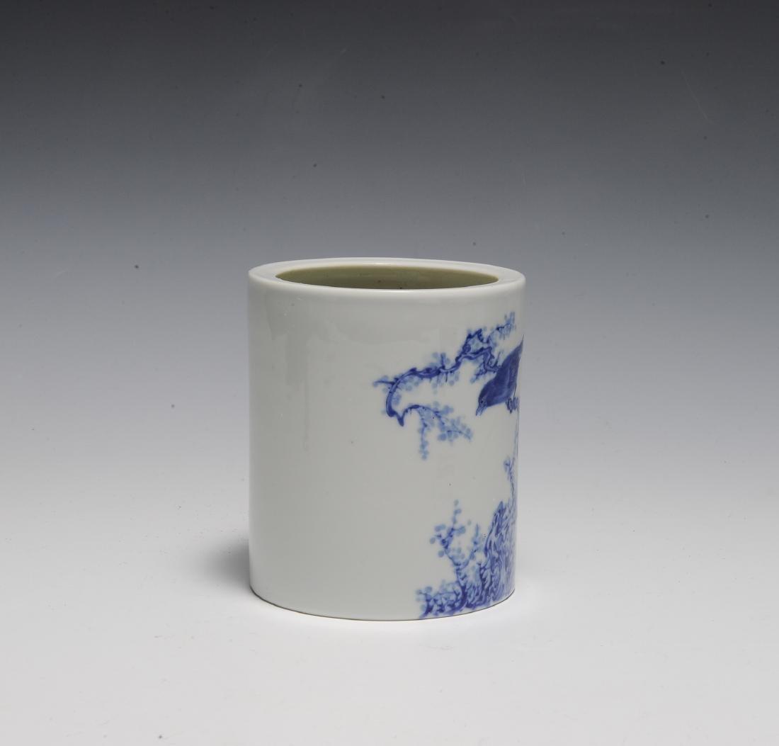 Wang Bu Style Blue & White Brush Pot, Republic - 4
