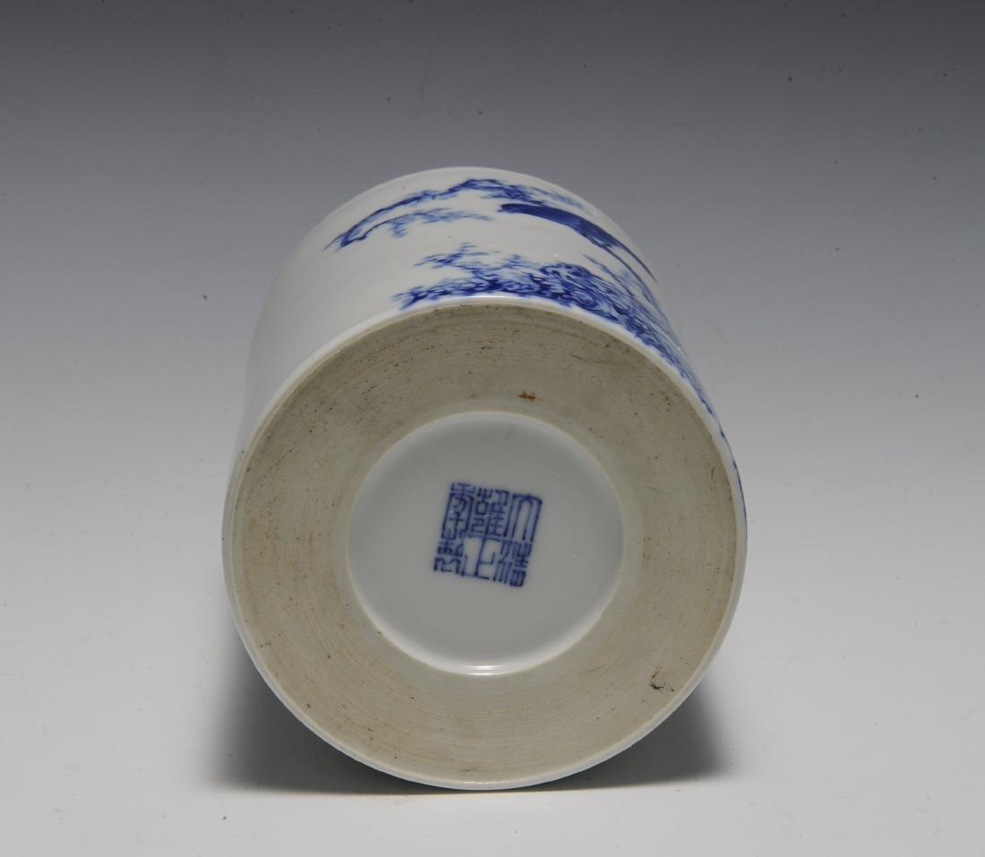 Wang Bu Style Blue & White Brush Pot, Republic - 5