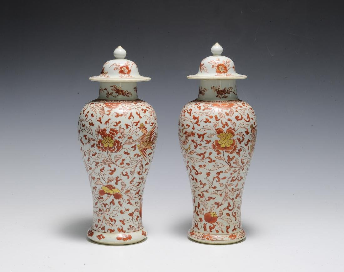 Pair of Export Porcelain Covered Jars, Kangxi - 2