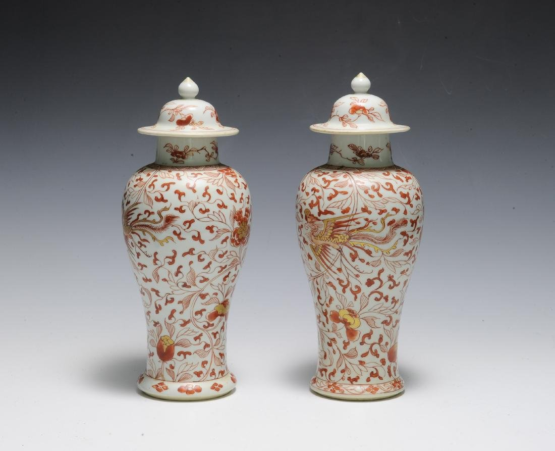 Pair of Export Porcelain Covered Jars, Kangxi - 3