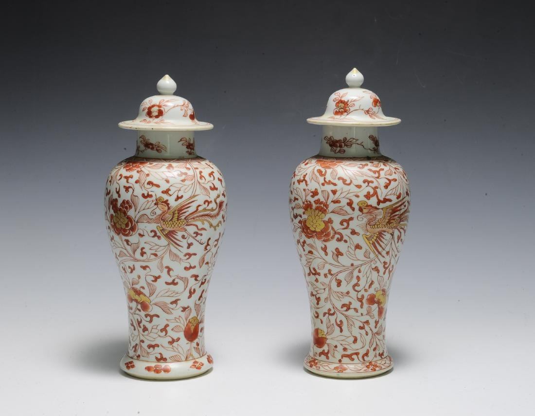 Pair of Export Porcelain Covered Jars, Kangxi - 4