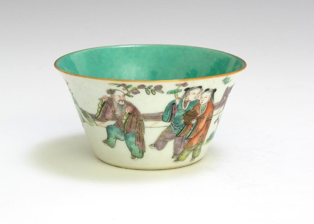Chinese Famille Rose Cup w/ 5 Figures, 19th Century
