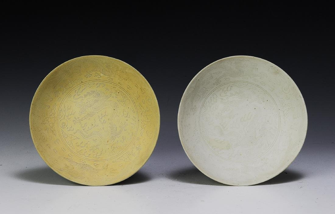 Pair of Imperial Chinese Unglazed Plates, Guangxu