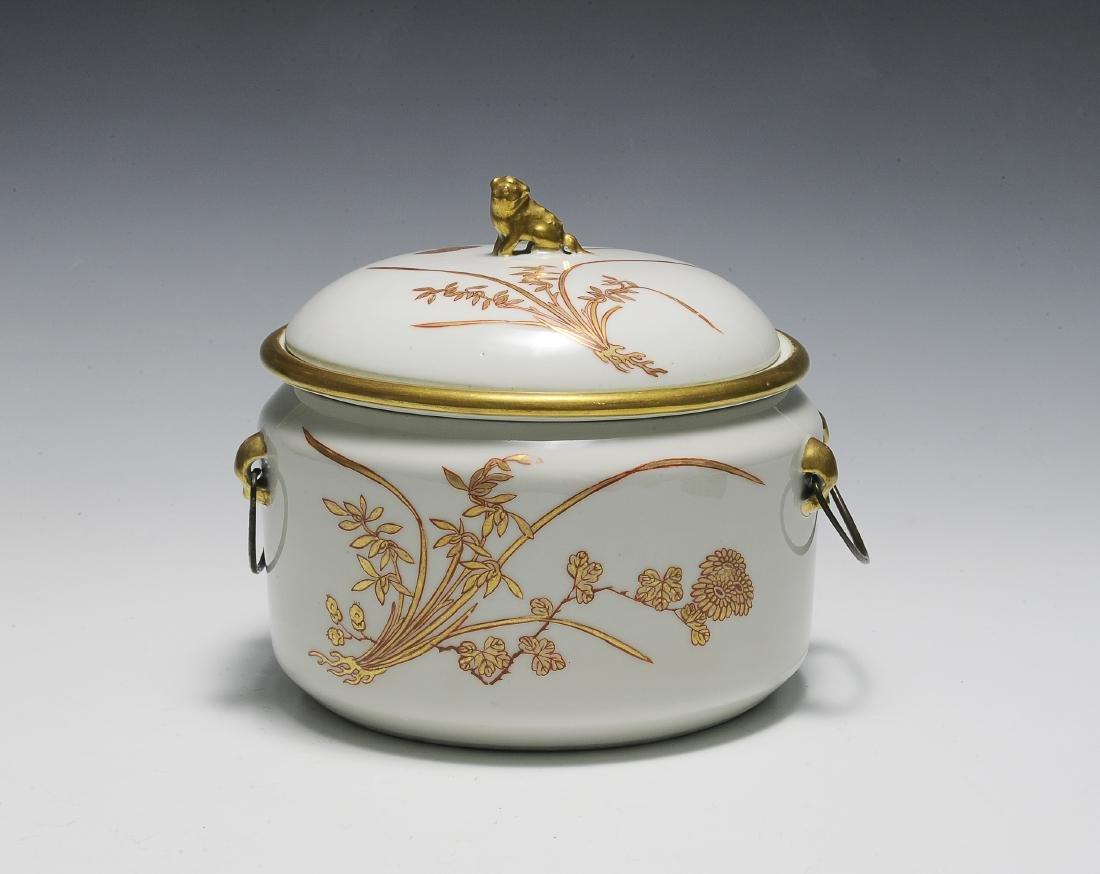 Chinese 3 Piece Porcelain Food Warmer, Xianfeng