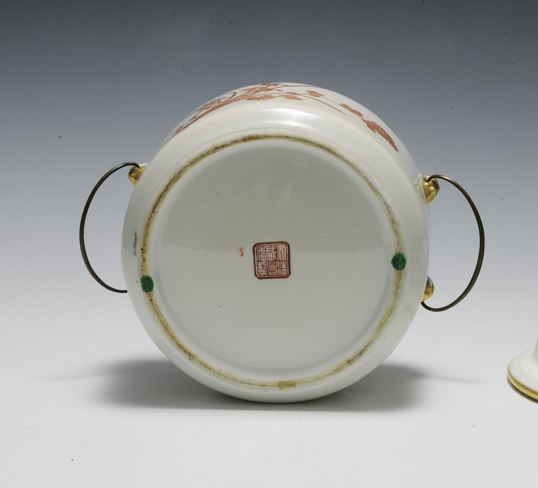 Chinese 3 Piece Porcelain Food Warmer, Xianfeng - 5