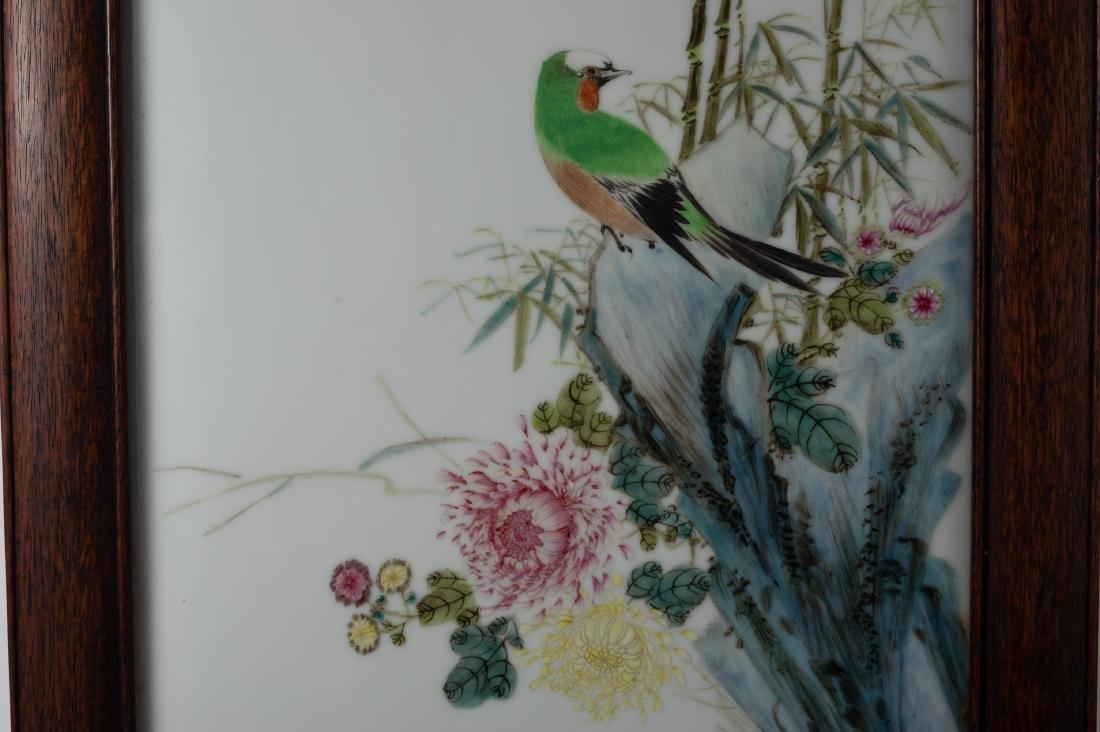 Famille Rose Porcelain Plaque by Bi Botao - 3