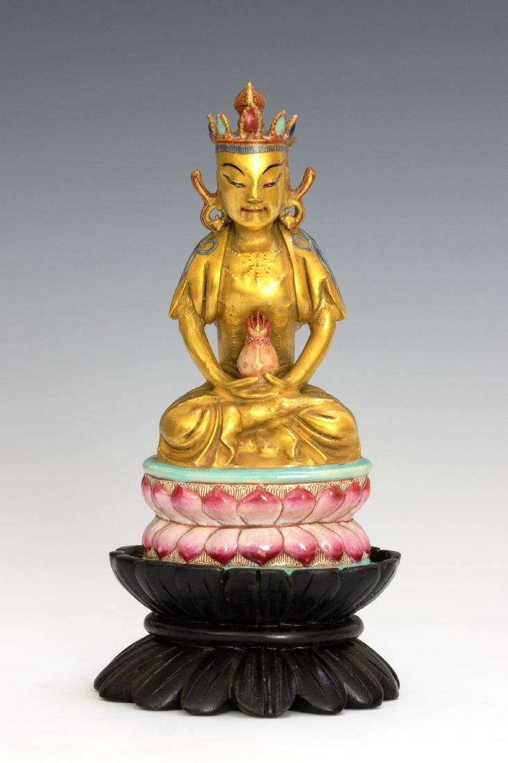 Chinese Porcelain Figure of Buddha, Qianlong