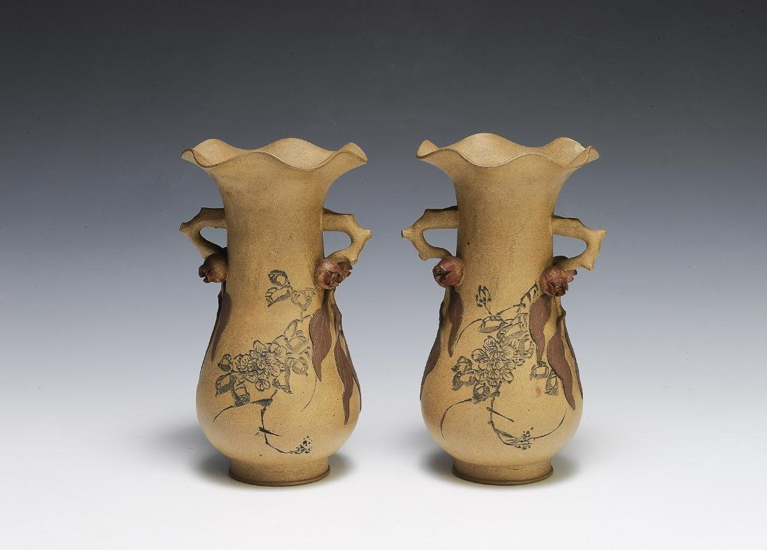 Pair of Chinese Yixing Vases by Chiyan