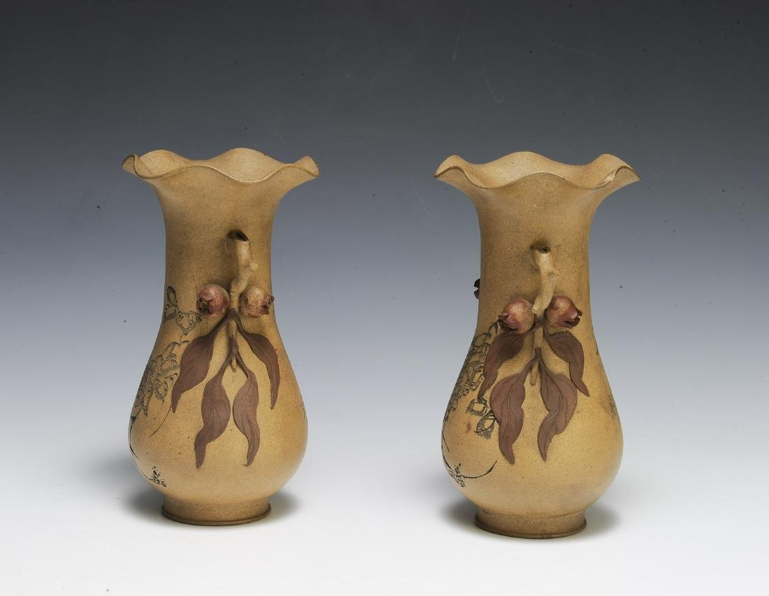 Pair of Chinese Yixing Vases by Chiyan - 4