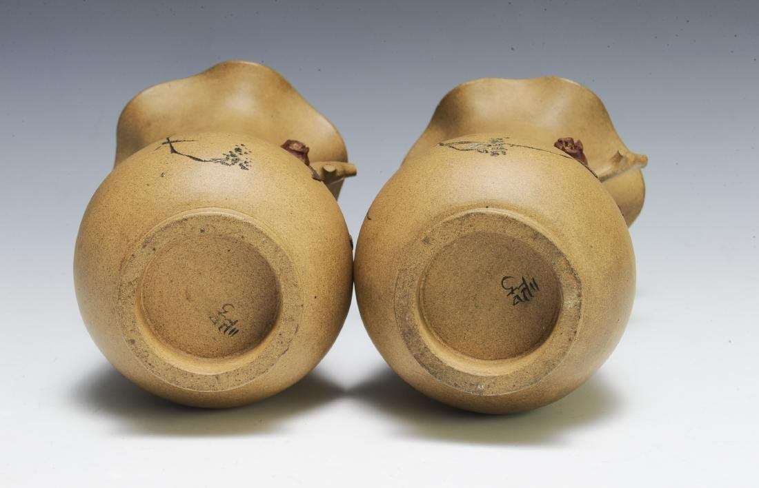 Pair of Chinese Yixing Vases by Chiyan - 5