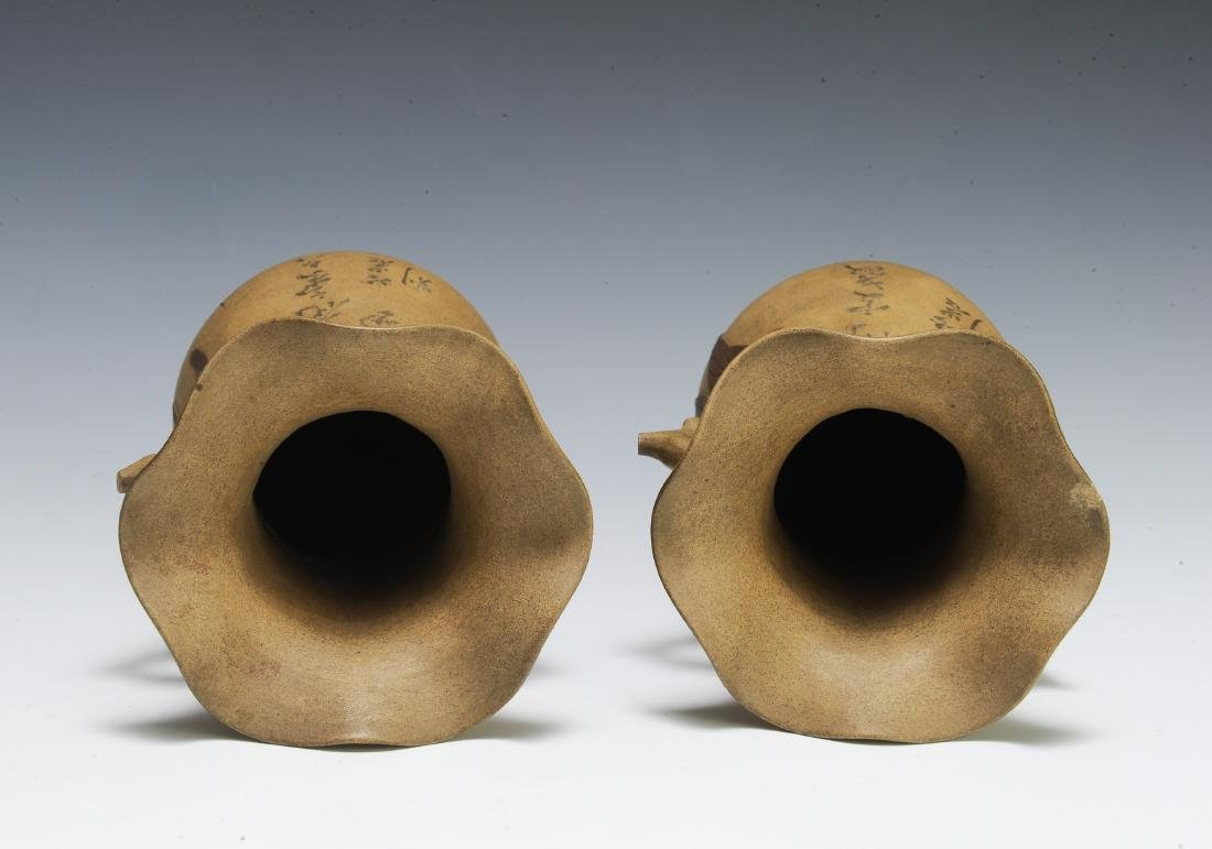 Pair of Chinese Yixing Vases by Chiyan - 6