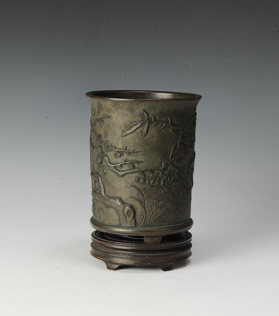Chinese Bronze Brush Pot w/ Stand, 17th -18th Century - 5