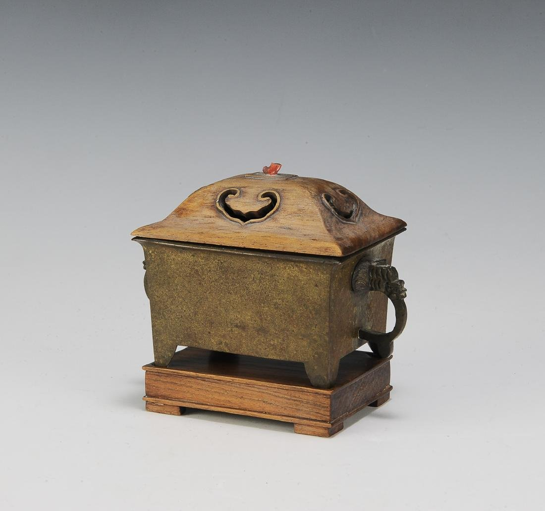 Chinese Rectangular Bronze Incense Burner, 19th Century