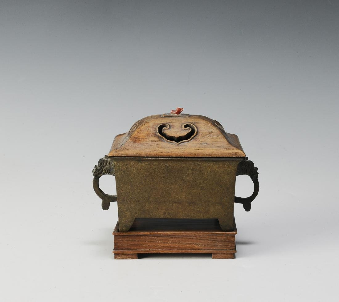 Chinese Rectangular Bronze Incense Burner, 19th Century - 2