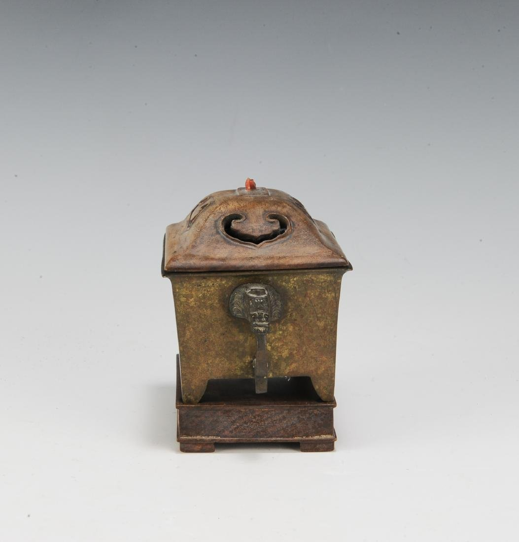 Chinese Rectangular Bronze Incense Burner, 19th Century - 3