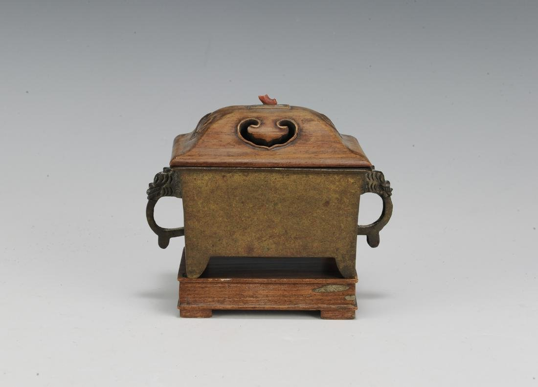 Chinese Rectangular Bronze Incense Burner, 19th Century - 4
