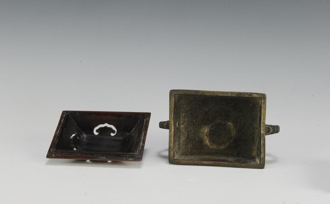 Chinese Rectangular Bronze Incense Burner, 19th Century - 6