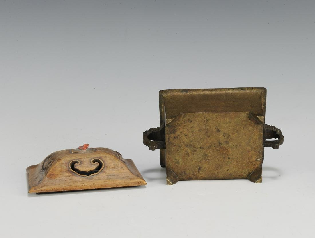 Chinese Rectangular Bronze Incense Burner, 19th Century - 7