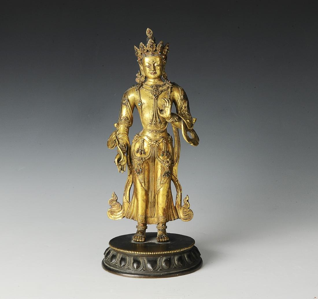 Gilt Bronze Standing Buddha, 18th Century