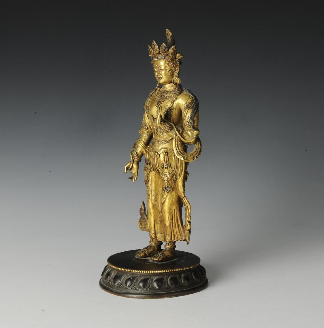 Gilt Bronze Standing Buddha, 18th Century - 2