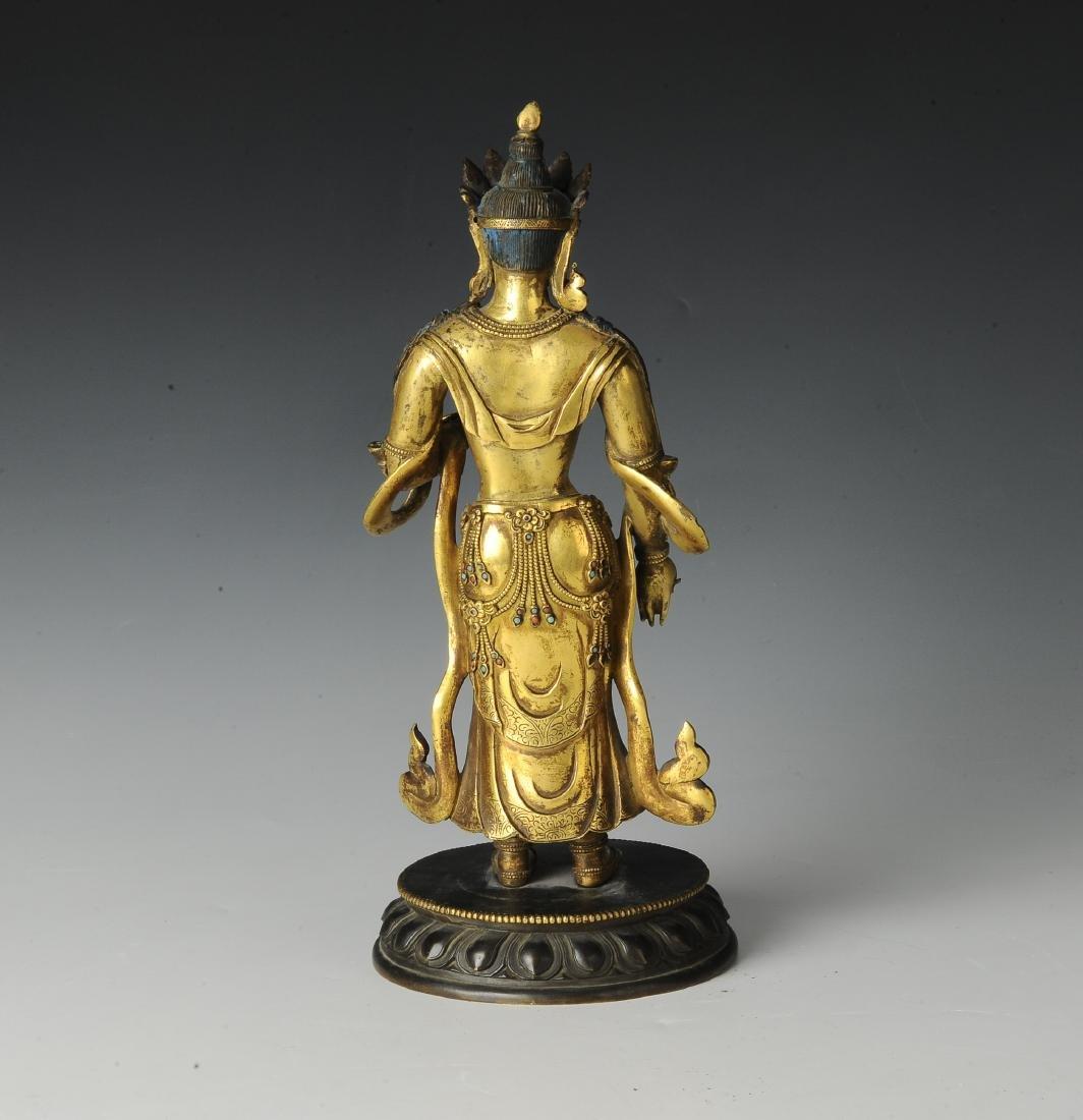 Gilt Bronze Standing Buddha, 18th Century - 4