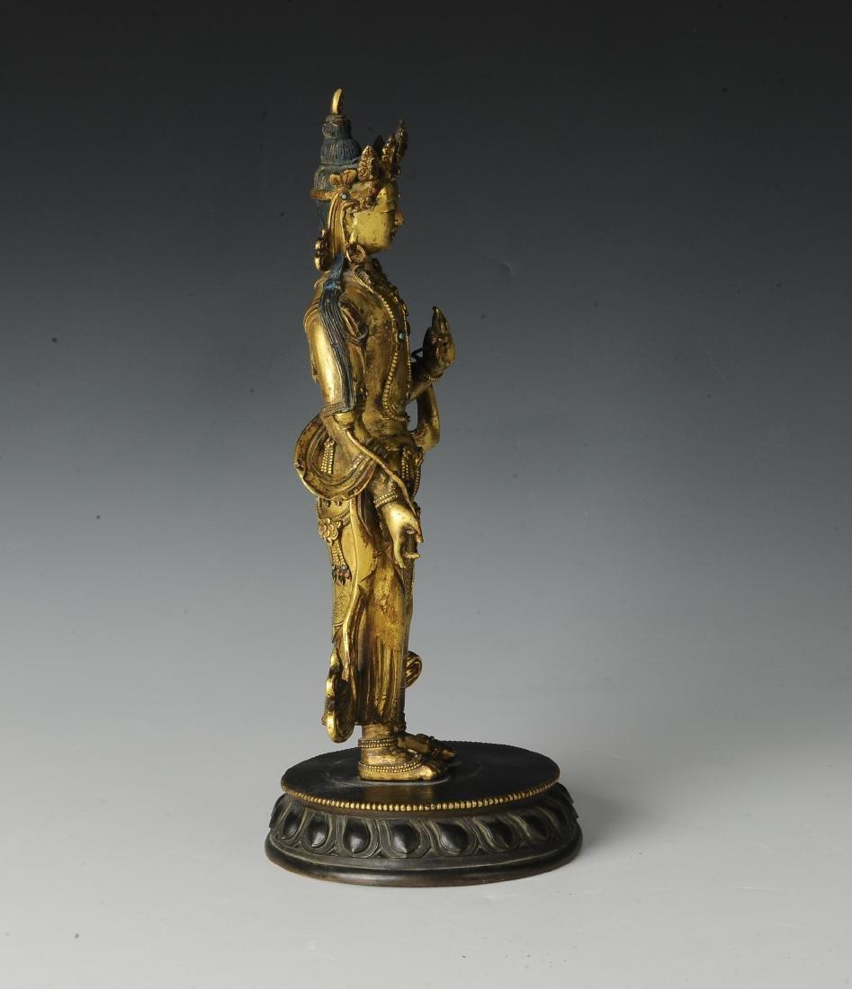 Gilt Bronze Standing Buddha, 18th Century - 5
