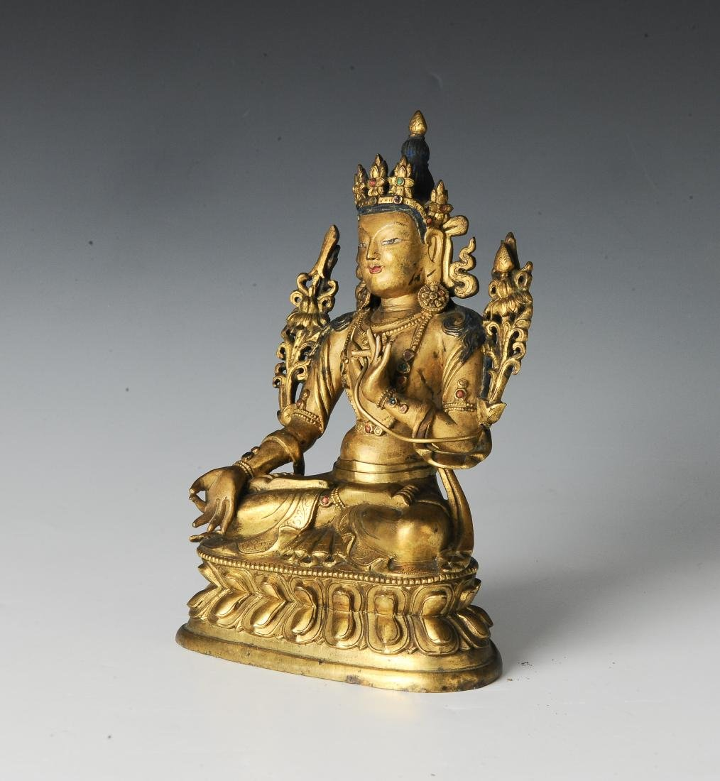 Gilt Bronze Seated Buddha, 17-18th Century - 2