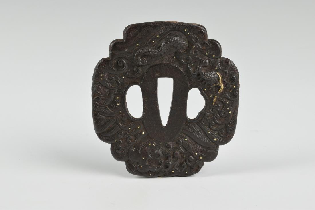 Japanese Sword Hilt Tsuba w/ Dragon, 19th Century - 2